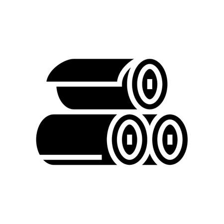 rolls of textile glyph icon vector. rolls of textile sign. isolated contour symbol black illustration