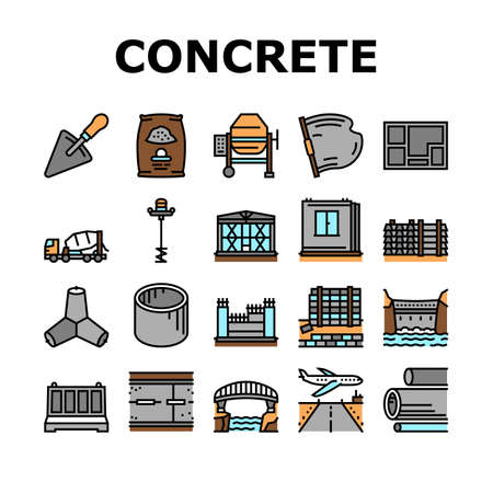 Concrete Production Collection Icons Set Vector. Road And Foundation Concrete, Cement Bag And Spatula Tool, Bridge And Airport Runway Building Concept Linear Pictograms. Contour Illustrations
