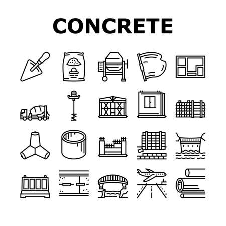 Concrete Production Collection Icons Set Vector. Road And Foundation Concrete, Cement Bag And Spatula Tool, Bridge And Airport Runway Building Black Contour Illustrations