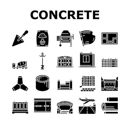 Concrete Production Collection Icons Set Vector. Road And Foundation Concrete, Cement Bag And Spatula Tool, Bridge And Airport Runway Building Glyph Pictograms Black Illustrations