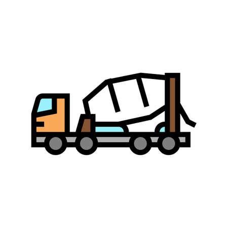 truck concrete transportation color icon vector. truck concrete transportation sign. isolated symbol illustration