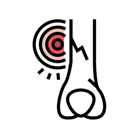 crack bone disease color icon vector. crack bone disease sign. isolated symbol illustration
