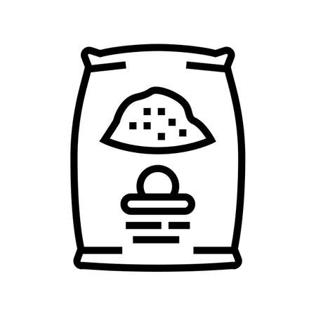 cement bag line icon vector. cement bag sign. isolated contour symbol black illustration