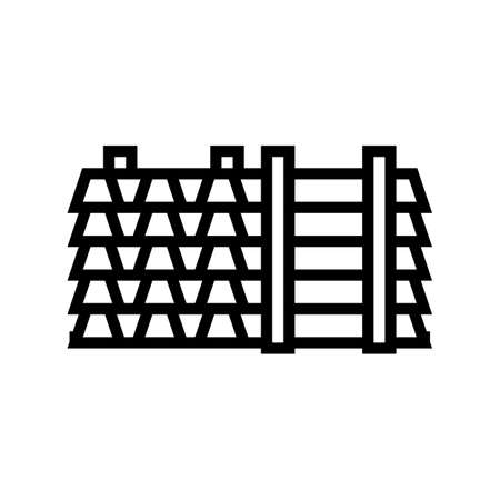floor beams concrete line icon vector. floor beams concrete sign. isolated contour symbol black illustration