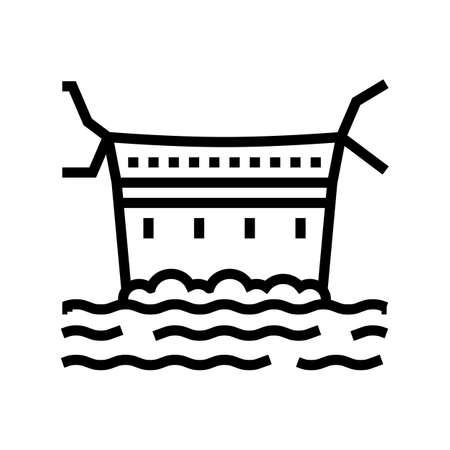dam concrete line icon vector. dam concrete sign. isolated contour symbol black illustration