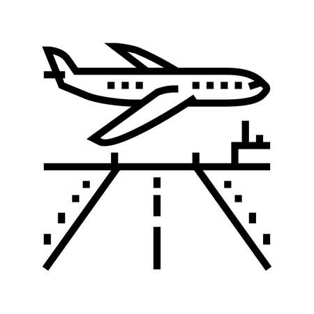airport runway concrete line icon vector. airport runway concrete sign. isolated contour symbol black illustration
