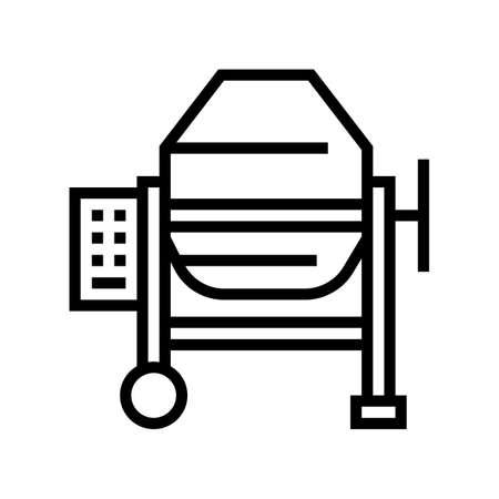 concrete production mixer line icon vector. concrete production mixer sign. isolated contour symbol black illustration