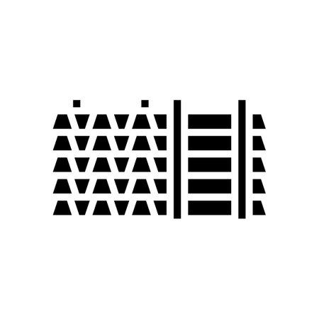 floor beams concrete glyph icon vector. floor beams concrete sign. isolated contour symbol black illustration