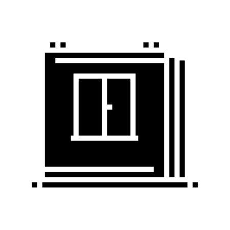 walls of panel house glyph icon vector. walls of panel house sign. isolated contour symbol black illustration