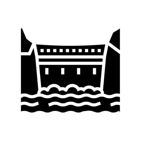 dam concrete glyph icon vector. dam concrete sign. isolated contour symbol black illustration