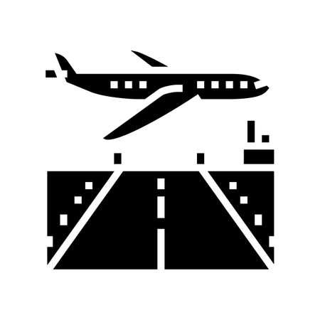 airport runway concrete glyph icon vector. airport runway concrete sign. isolated contour symbol black illustration