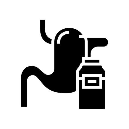 nephrostomy disease, esophagus brought into bag glyph icon vector. nephrostomy disease, esophagus brought into bag sign. isolated contour symbol black illustration 向量圖像