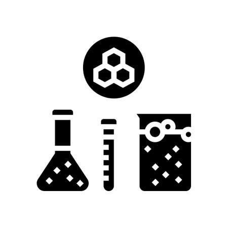 chemical substrate pharmaceutical production glyph icon vector. chemical substrate pharmaceutical production sign. isolated contour symbol black illustration