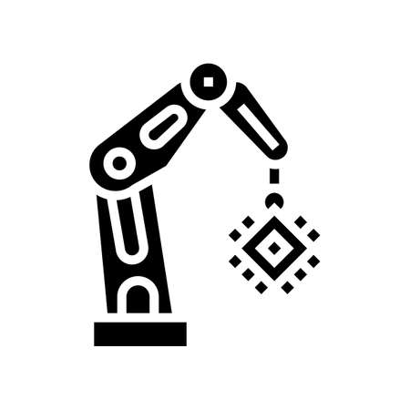 robotic arm semiconductor manufacturing glyph icon vector. robotic arm semiconductor manufacturing sign. isolated contour symbol black illustration
