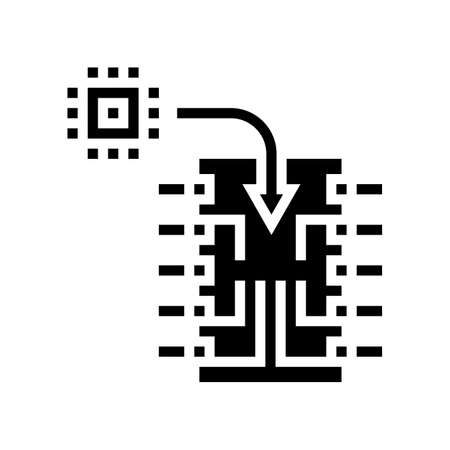 chip installation semiconductor manufacturing glyph icon vector. chip installation semiconductor manufacturing sign. isolated contour symbol black illustration 向量圖像