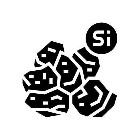 silicon semiconductor manufacturing glyph icon vector. silicon semiconductor manufacturing sign. isolated contour symbol black illustration