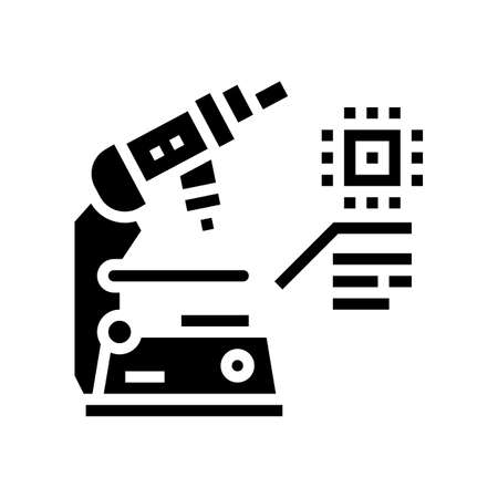 researching microscope semiconductor manufacturing glyph icon vector. researching microscope semiconductor manufacturing sign. isolated contour symbol black illustration 向量圖像