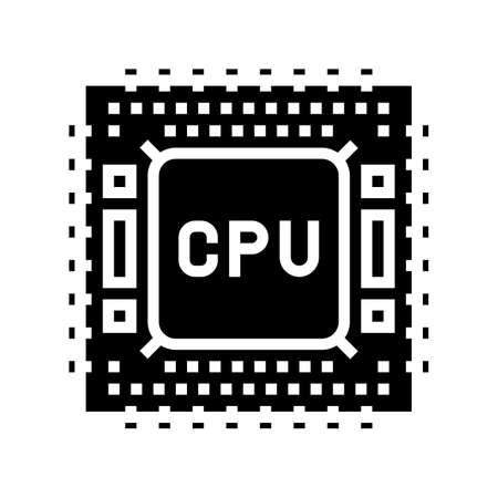 cpu semiconductor manufacturing glyph icon vector. cpu semiconductor manufacturing sign. isolated contour symbol black illustration 向量圖像