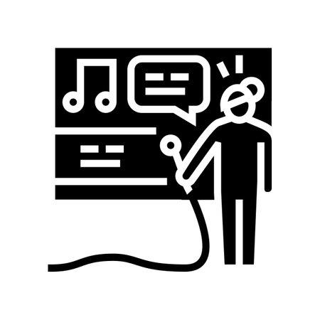 karaoke leisure glyph icon vector. karaoke leisure sign. isolated contour symbol black illustration