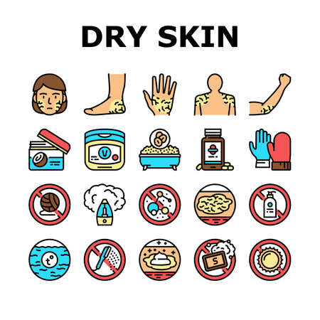 Dry Skin Treatment Collection Icons Set Vector. Elbow, Face And Hand Dry Skin Treat Cream And Lotion, Bacterial Soap And Oatmeal Bath Concept Linear Pictograms. Contour Color Illustrations