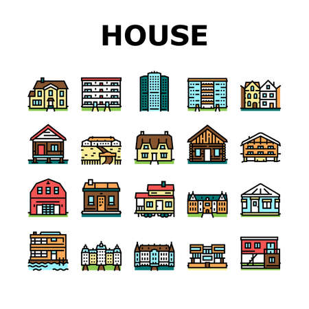 House Constructions Collection Icons Set Vector. Townhome House And Mobile Home, Villa And Palace Building, Apartment And Residence Concept Linear Pictograms. Contour Color Illustrations Векторная Иллюстрация