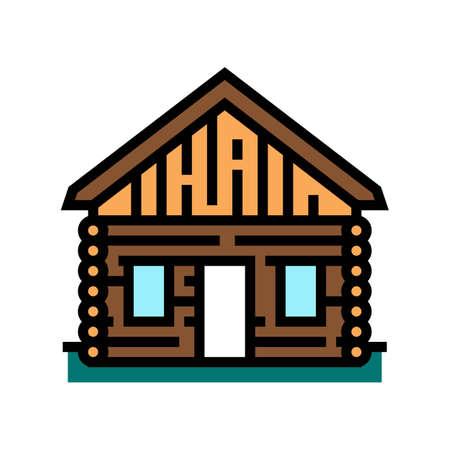 cabin house color icon vector. cabin house sign. isolated symbol illustration Ilustração Vetorial