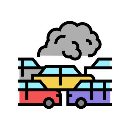 transport car smoke color icon vector. transport car smoke sign. isolated symbol illustration