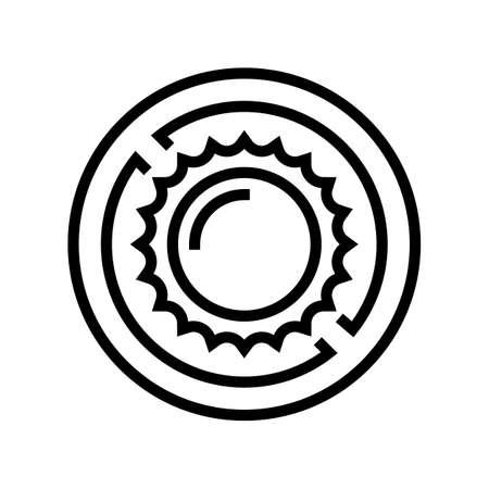 sun counterindication line icon vector. sun counterindication sign. isolated contour symbol black illustration