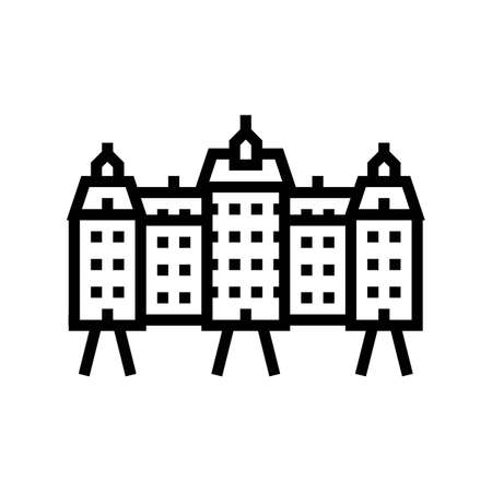 palace house line icon vector. palace house sign. isolated contour symbol black illustration Векторная Иллюстрация