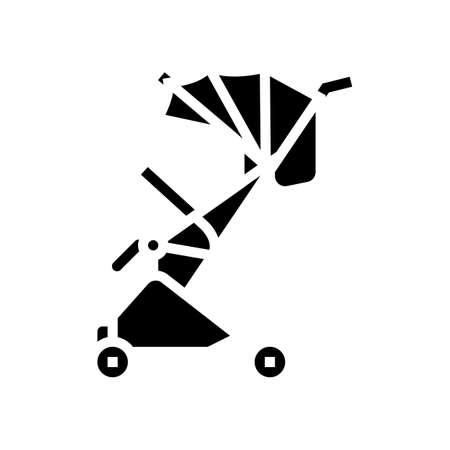 stroller walk baby glyph icon vector. stroller walk baby sign. isolated contour symbol black illustration