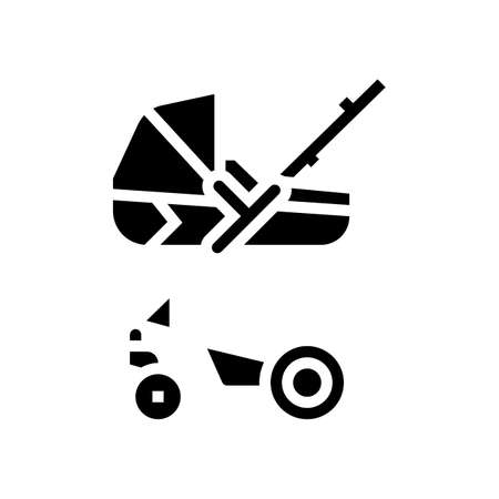 stroller carrycot baby glyph icon vector. stroller carrycot baby sign. isolated contour symbol black illustration