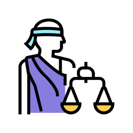 justitia law color icon vector. justitia law sign. isolated symbol illustration