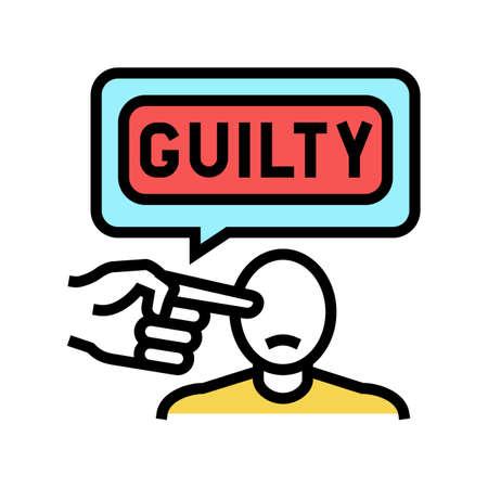 guilty law color icon vector. guilty law sign. isolated symbol illustration Ilustración de vector