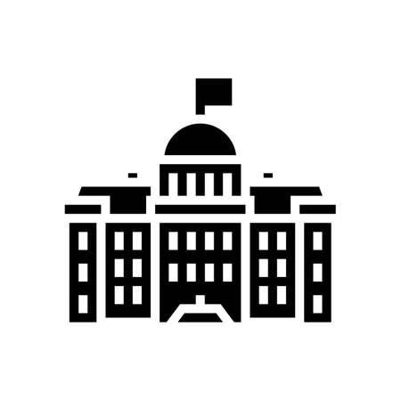 government building glyph icon vector. government building sign. isolated contour symbol black illustration Vektoros illusztráció