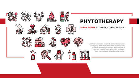 Phytotherapy Treat Landing Header Vector. Phytotherapy Medicaments From Flowers And Plant Natural Ingredients, Elixir And Pill Illustration Векторная Иллюстрация