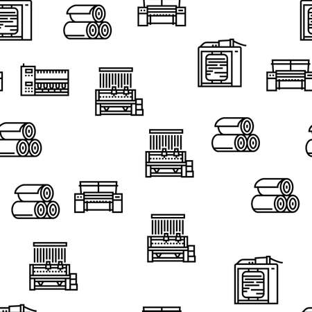 Textile Production Collection Icons Set Vector. Silk Thread And Clothing Textile Production, Sewing Machine And Factory Industrial Equipment Black Contour Illustrations