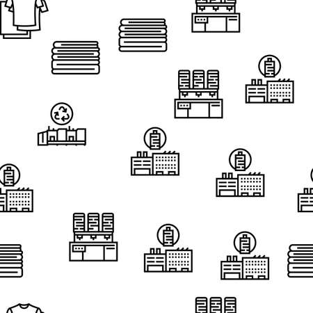 Textile Production Collection Icons Set Vector. Silk Thread And Clothing Textile Production, Sewing Machine And Factory Industrial Equipment Black Contour Illustrations Vektoros illusztráció