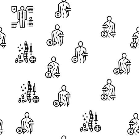 Scoliosis Disease Collection Icons Set Vector. Corset And Surgery Medical Operation For Treatment Kyphosis And Scoliosis Health Problem Black Contour Illustrations
