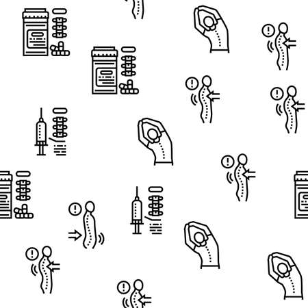 Scoliosis Disease Collection Icons Set Vector. Corset And Surgery Medical Operation For Treatment Kyphosis And Scoliosis Health Problem Black Contour Illustrations Vector Illustration