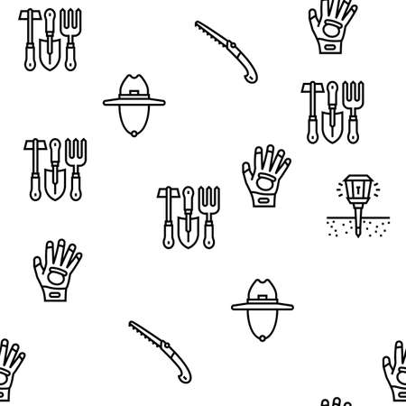 Gardening Equipment Collection Icons Set Vector. Glass And Polycarbonate Greenhouse Construction, Gardening Tool And Instrument Black Contour Illustrations