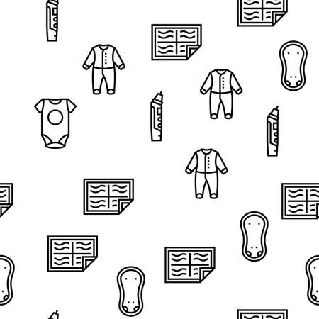 Baby Shop Selling Tool Vector Seamless Pattern Thin Line Illustration