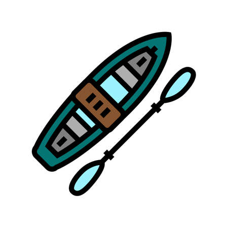 kayak boat color icon vector. kayak boat sign. isolated symbol illustration Vecteurs