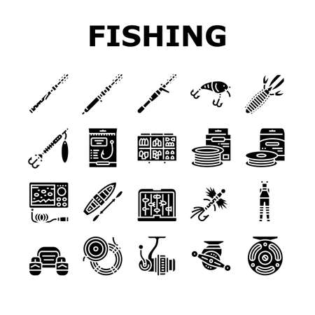 Fishing Shop Products Collection Icons Set Vector. Bait Cast Reel With Monofilament Line And Spinning, Kayak Boat And Weights Fishing Accessories Glyph Pictograms Black Illustrations Vecteurs