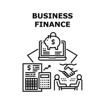 Business Finance Vector Icon Concept. Business Finance Counting Income And Expanse, Researching Annual Financial Report And Audit. Investment And Safe Money In Piggy Bank Black Illustration