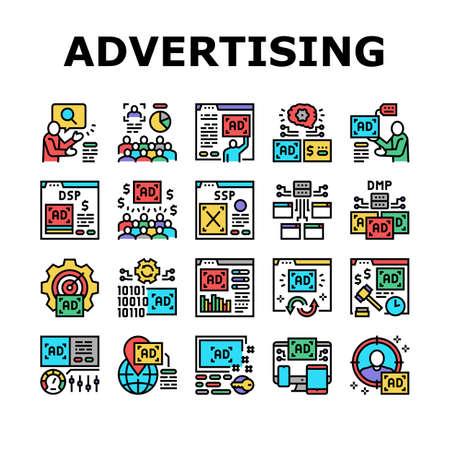 Programmatic Advertising Service Icons Set Vector. Audience Programmatic Advertising And Analytics, Optimization And Remarketing, Digital Advertise Line Pictograms. Contour Color Illustrations Vektoros illusztráció