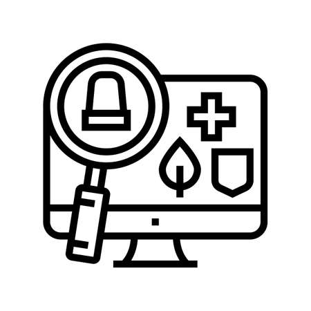 monitoring and information retrieval line icon vector. monitoring and information retrieval sign. isolated contour symbol black illustration