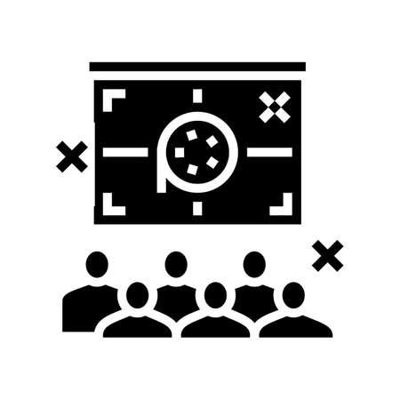 outdoor movie kids party glyph icon vector. outdoor movie kids party sign. isolated contour symbol black illustration