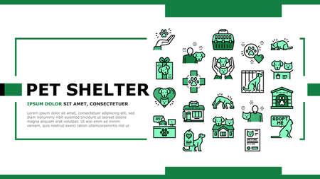 Animal Pet Shelter Landing Web Page Header Banner Template Vector. Pet Shelter Building And Worker, Eating Cat And Dog, Puppy Present And Medical Document Illustration
