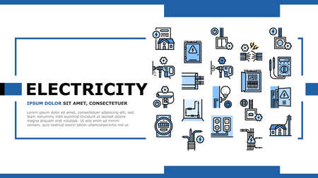 Electrical Installation Tool Landing Web Page Header Banner Template Vector. Socket And Substation Automation Box Installation, Wall Chipping And Drilling For Wiring Illustration