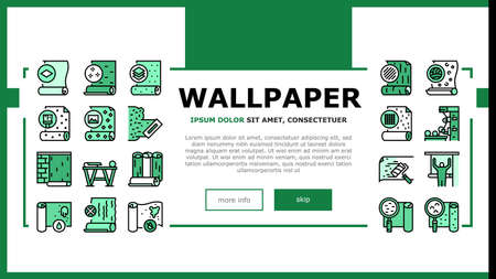 Wallpaper Interior Landing Web Page Header Banner Template Vector. Waterproof And Paper, Vinyl And Non-woven, Textile And Velor Wallpaper Rolls, Production Illustration
